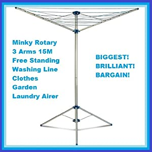 minky rotary 3 arms 15m free standing washing line clothes. Black Bedroom Furniture Sets. Home Design Ideas
