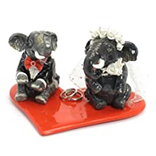 buy Elephant Lover Wedding Cake Topper With Red Heart Ring Bearer Plate P-P00001 Clay Sculpted Hand Painted Wedding Decor Figurine Statue Table Reception Decoration