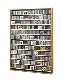 CDラック DVDラック 大容量 最大CD1668枚収納 ショップのような薄型壁面型 インデックスプレート20枚付 ナチュラル色
