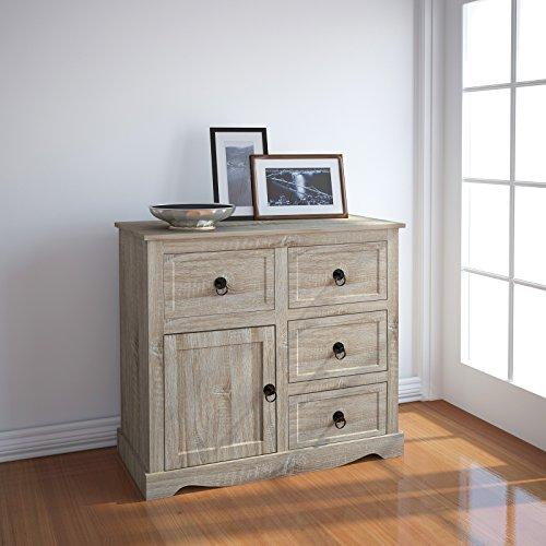 Miadomodo-praktische-Kommode-Holzkommode-Schrankregal-fr-Esszimmer-Kche-Wohnzimmer-oder-Flur-1-Tr-4-Schubladen