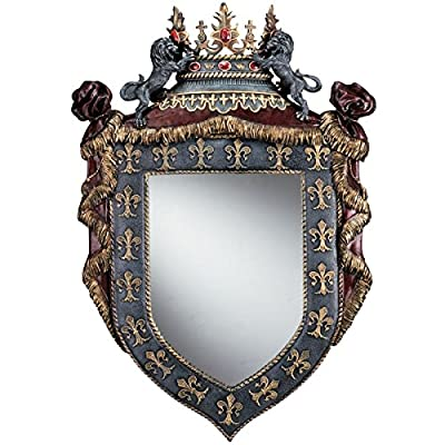 Hand-painted Resin Cast Sculptural Wall Mirror Shaped Like a Knight's Shield Framed in Fleur De Lis and Topped By a Gemmed Crown Flanked By Two Lions