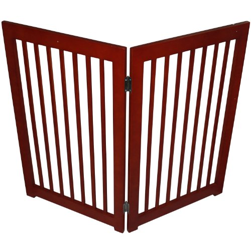 "Pawhut Wood 36"" 2-Panel Folding Wood Pet / Dog Playpen Fence front-550246"