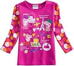 Little Girls Long-Sleeve Alphabet Flowers Cotton T-Shirts Tees 1-6Y