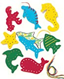 Lacing and Tracing Sea Life 8/Pk Ages 3-7