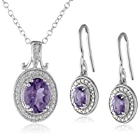 Sterling Silver Oval Gemstone Earrings and Pendant Necklace Jewelry Set by Amazon Collection
