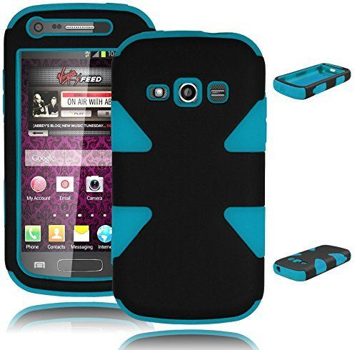 Bastex Heavy Duty Hybrid Case for Samsung Galaxy Ring M840 Prevail 2 - Dynamic Black Hard Cover Design with Powder Baby Sky Blue Silicone Shell (Galaxy Ring compare prices)