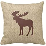 Burlap Brown Moose Decorative Pillow Case Personalized 18x18 Inch Square Cotton Throw Pillow Case Decor Cushion Covers
