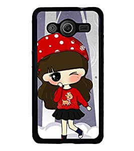 Vizagbeats Animated Winking Girl In Red Back Case Cover For Samsung Galaxy Core 2