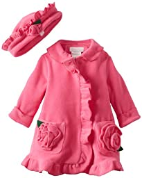 Bonnie Baby Baby Girls\' Ruffle Fleece Coat and Hat Set, Fuchsia, 18 Months