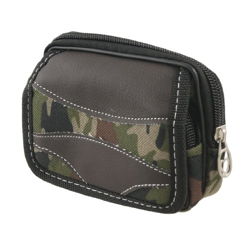 Man Camouflage Faux Leather Nylon Belt Loop Waist Bag Pockets