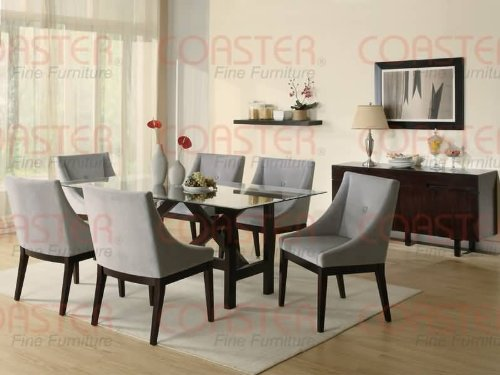 Cheap Coaster Alvarado Rectangular Dining Table with Glass Top in Cappuccino Finish (B004BHVFKW)