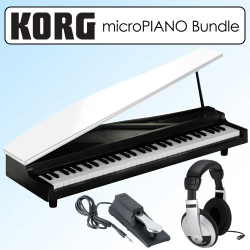 Korg Micropiano Digital Piano White Bundle With Pedal & Stearo Headphones
