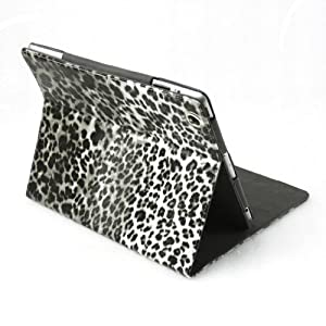 For Apple the New Ipad 3 Leopard Leather Case Folio Stand White Grey with Wakeup / Sleep Function