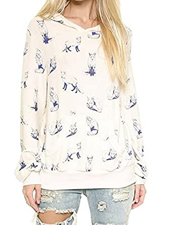 Muke Women's Hooded Fox Print Casual Pullover at Amazon