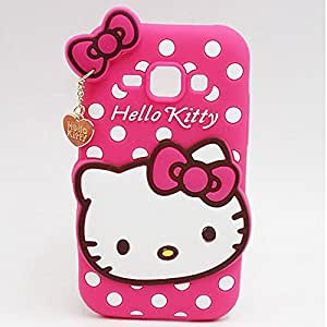 ROKAYA™ Cute Hello Kitty Silicone With Pendant Back Case Cover For Xiaomi Redmi 2s (Pink)