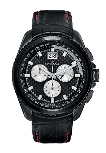 GROVANA 1621,9577 Swiss-Orologio da uomo al quarzo, quadrante nero, Display con cronografo e cinturino in pelle, colore: nero