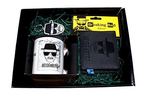 Breaking Bad Heisenberg, Cesto regalo contenente-Portafoglio in pelle, Tazza e portachiavi