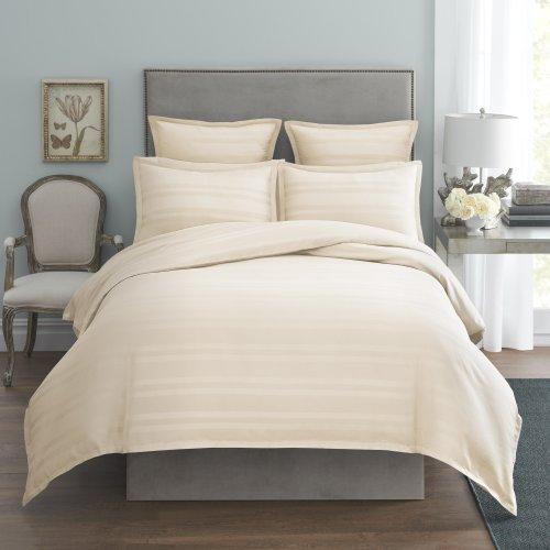 Modern Living 1C92267 Arezzo Stripe Duvet Cover, Full/Queen, Ivory front-453439
