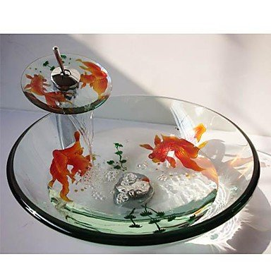 Nice Goldfish Round Tempered Glass Vessel Sink with Waterfall Faucet Pop