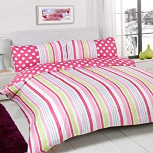 Dreamscene Sugar Stripe Duvet Cover Set, Pink, Double