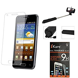 iKare Pack of 2 Premium Shatter Proof Tempered Glass Ultra Clear Screen Protector for Apple iphone 4 4S + Wireless Bluetooth Selfie Stick with Image Zoom