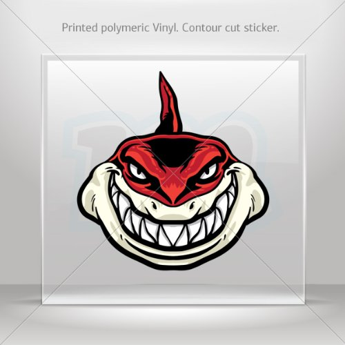 Decals Stickers Red Shark Attacks Motorbike Vehicle Weatherproof Garage Durable Bicycles 0500 Xr487 front-195734