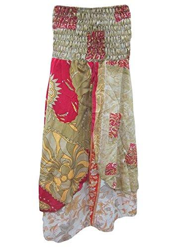 Woman Maxi Skirt Fancy Pink Dresses Vintage Boho Silk Skirts front-209429