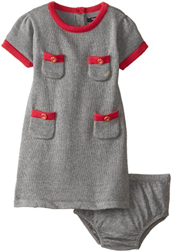 Nautica Baby-Girls Infant Sweater Pocket Dress, Grey Heather, 12 Months front-1064805