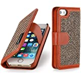 StilGut Talis, Fashion-Serie, Tasche aus Leder mit innenliegenden Fächern für Apple iPhone 5s, Donegal-Tweed / cognac