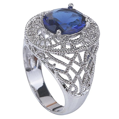 Psiroy 925 Sterling Silver Stunning Created Gorgeous Women's 8mm*12mm Oval Cut Sapphire Quartz Solitaire Filled Ring