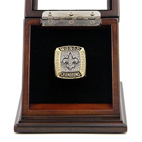 2009 NEW ORLEANS SAINTS SUPER BOWL XLIV CHAMPIONS CHAMPIONSHIP RING WITH DISPLAY CASE - SIZE 11