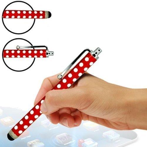 Sleek Gadgets Premium Edition ®, Rot gepunktet, Stylus-Stift mit weicher Gummispitze, für Samsung Galaxy Tab 3 7.0 P3210 SM-T210