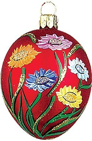 Easter Egg with Flowers Polish Glass Ornament