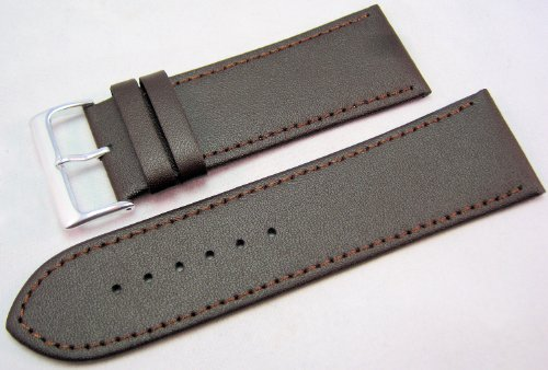 Brown Leather Watch Strap Band With A Stitched Edging And Nubuck Lining 28mm