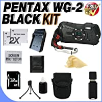 Pentax Optio WG-2 Adventure Series 16 MP Waterproof Digital Camera with 5 X Optical Zoom (Black) W/32GB SDHC Memory Card + 2 Extra LI50B Extended Life Batteries + AC/DC Rapid Charger + Deluxe Case w/Strap + USB Card Reader + Memory Card Reader + Accessory