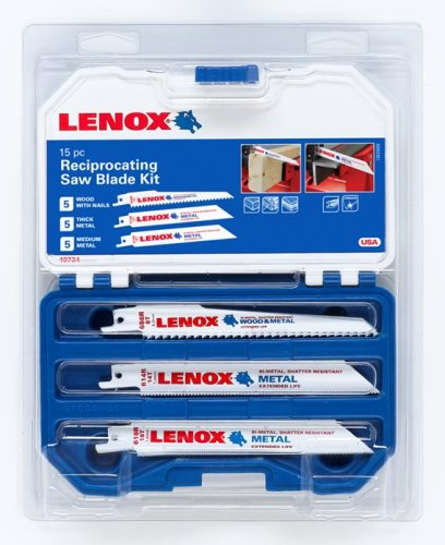 Lenox 10734 15-Piece Reciprocating Saw Blade Kit with Plastic Case