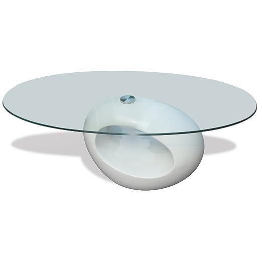 Tavolino salotto moderno vetro design bianco ovale