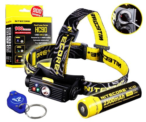 Bundle: Nitecore Hc90 900 Lumens Rechargeable Led Headlamp W/ Usb Built-In Charger, Nitecore 2300Mah Rechargeable 18650 And Lumentac Keychain Light