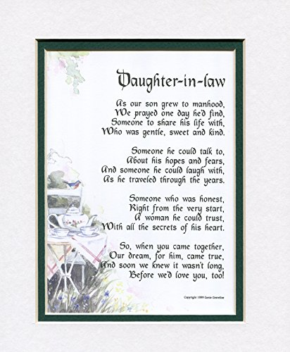 Wedding Gifts For My Son And Daughter In Law : Gift For A Daughter-in-law, #89, Touching 8x10 Poem, Double-matted ...