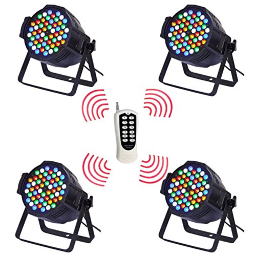 Yiscor Stage Lighting Led Par Light Wireless Control 3Wx54 Rgbw Dmx512 For Dj Home Garden Party Wedding Effect (Pack Of 4)