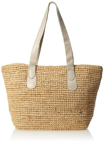 Flora Bella Women's Small Sur Crochet Leather Tote, Natural/Silver, One Size