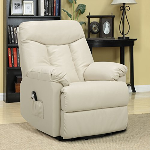 Prolounger Lya Cream Renu Leather Power Recline And Lift