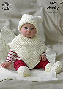 Amazon.com : Babies Hat, Poncho, Bootees & Blanket in King Cole