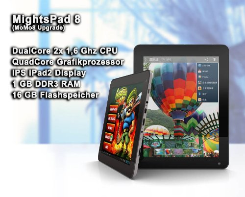 MightyPad 8 Deutsch - 8 Zoll Tablet PC (DualCore CPU 2x 1.6 GHz, QuadCore GPU, iPad IPS Display 1024 x 768, 1GB RAM, 16GB HD, Android 4.1, HDMI, WiFi, Externe 3G, USB)