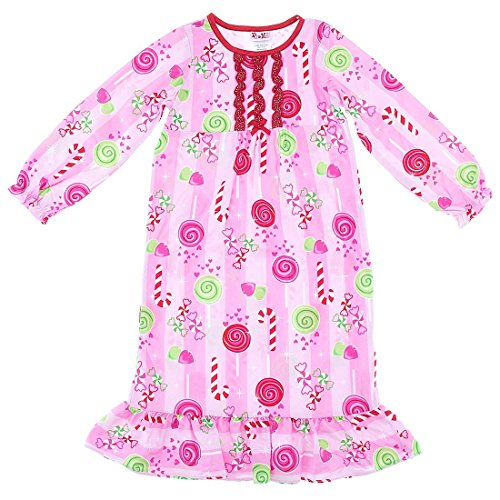 PJ & ME Big Girls' Pink Candy Canes Christmas Nightgown