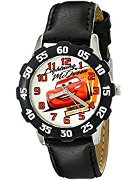 Disney Kids' W001984 Cars Analog Watch With Black Synthetic Leather Strap