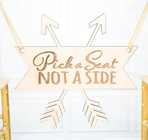 Wedding Sign for Aisle Pick a Seat Not a Side for Ceremony Sign - Wedding Ceremony Sign in Rustic Boho Arrow Design (Pick A Side Sign compare prices)