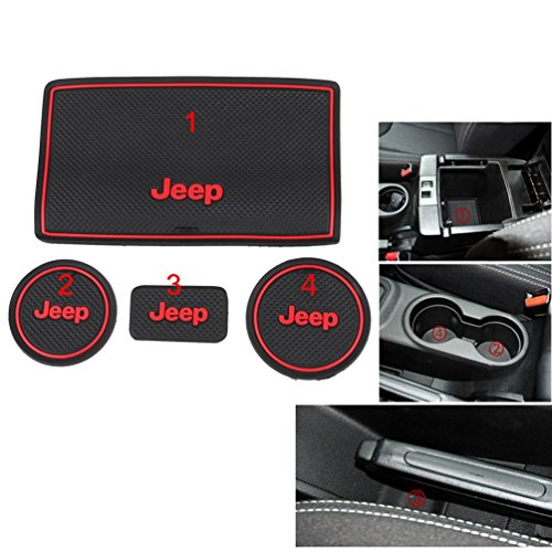 Anti-dust Non-slip Interior door Cup Holder Mats Mat For Jeep Wrangler JK 2008-2016 (Red) (Red Jeep compare prices)