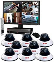 Revo R164D8EM21-2T 16-Channel 2TB DVR Surveillance System with 8 600TVL 80-Feet Night Vision Dome Cameras (White and Black)