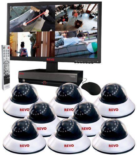 Revo R164D8EM21-2T 16-Channel 2TB DVR Surveillance System with 8 600TVL 80-Feet Night Vision Dome Cameras (White and Black) promo